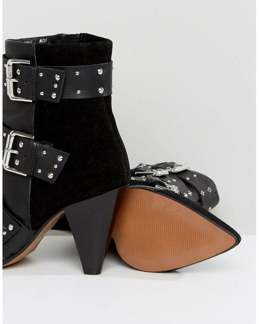 new-look-Black-Stud-Buckle-Ankle-Boot-With-Cone-Heel (2)