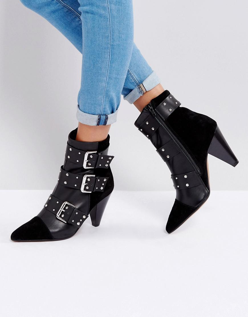 new-look-Black-Stud-Buckle-Ankle-Boot-With-Cone-Heel