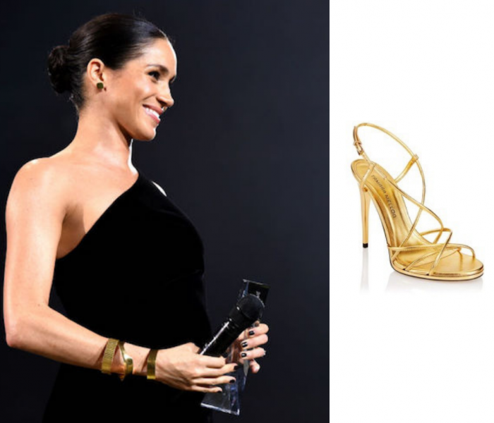 I sandali oro di Meghan Markle ai British fashion Awards