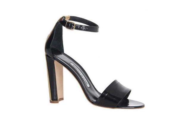 Sandalo nero in vernice