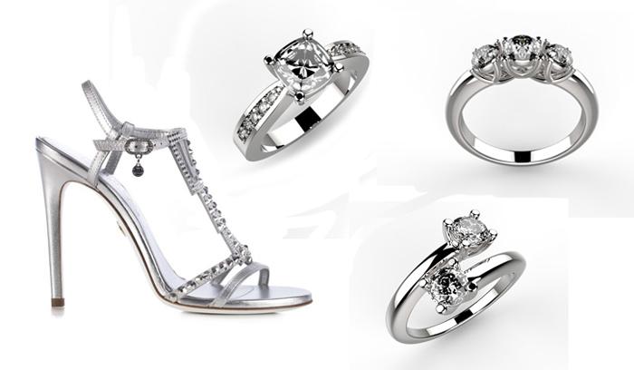 scarpe e gioielli in platino