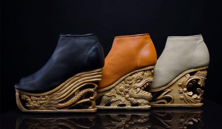 scarpe di legno