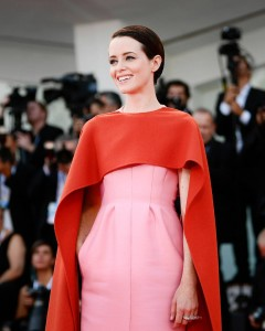Claire Foy, abito rosa Valentino Haute Couture