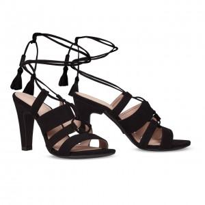 Sandalo nero lacci versione tacco alto
