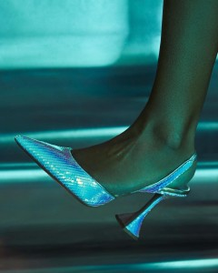 HOLLI slingback pump in mirror hologram leather