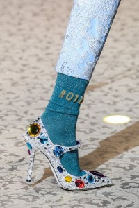 Decoltè con tacco a spillo argento e pietre Dolce&Gabbana