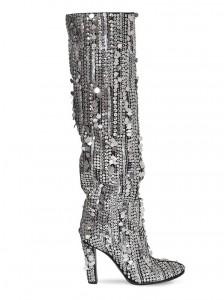 Alberta Ferretti - stivali alti con tacco, interamente ricoperti da paillettes luccicanti color argento
