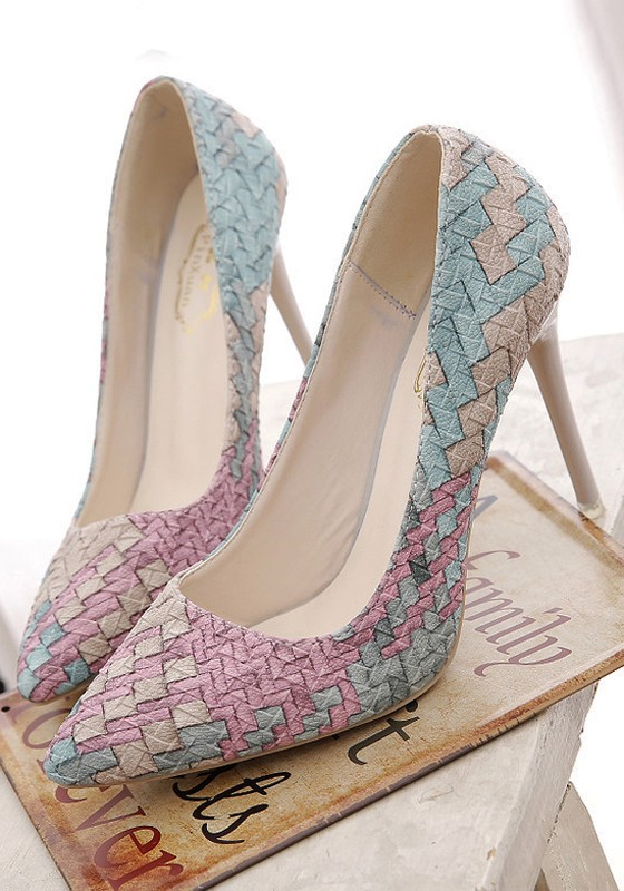 multicolor-point-toe-stiletto-weave-pattern-printing-fashion-high-heeled-shoes
